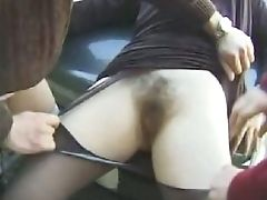 Wife fingering hairy pussy